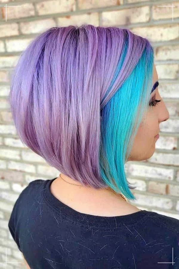 Edgy Lavendel Kurzhaarfrisur mit Aqua-Tönen